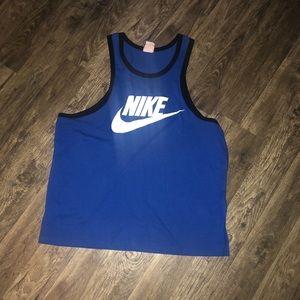 Blue with black trim Nike tank top.